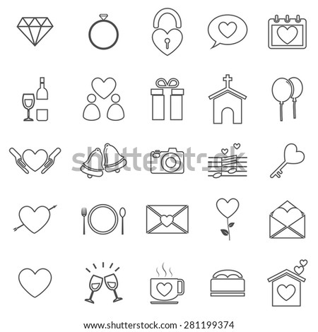 Wedding line icons on white background, stock vector