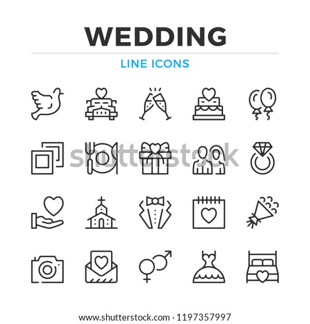 Wedding line icons set. Modern outline elements, graphic design concepts, simple symbols collection. Vector line icons #1197357997