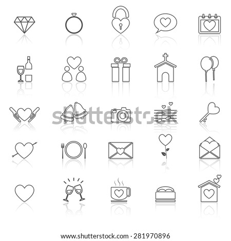 Wedding line icons with reflect on white, stock vector