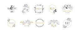 Wedding logos, hand drawn elegant, delicate monogram collection