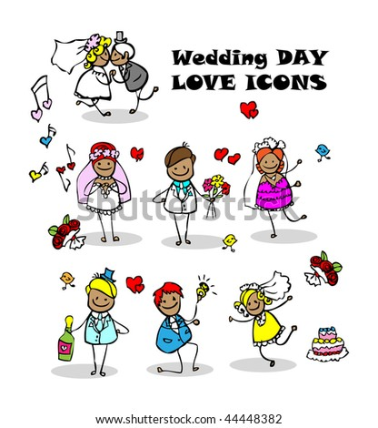 wedding images cartoon. stock vector : wedding love icons set, kids cartoon design, isolated wed