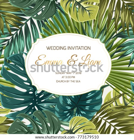 Wedding marriage event invitation card template RSVP save the date. Exotic tropical jungle rainforest greenery palm monstera leaves border. Shiny gold gradient vintage frame with text placeholder.