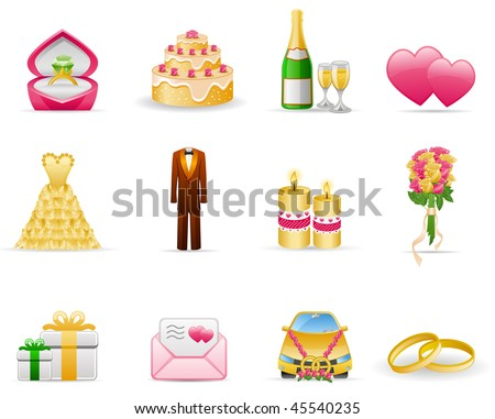 Wedding (Marriage) icon set