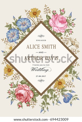Wedding marriage thanks invitation. Beautiful blooming flowers. Vintage greeting card Frame Drawing engraving. Petunia Chamomile Rose isolated floral. Wallpaper background. Vector baroque Illustration #694423009