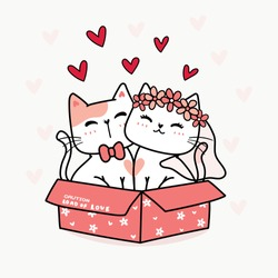 Wedding marry kitten cat couple lover in pink with bride and groom concept, cartoon doodle animal illustration idea for invitation, greeting or congratulation card print or supply for printable stuff