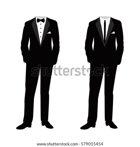 Wedding men's suit and tuxedo. Collection. Vector illustration.