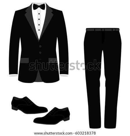 Wedding men's suit with shoes, tuxedo. Collection. Vector illustration.