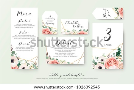 Wedding menu, information, label, table number and place card design with elegant lavender pink garden rose, anemone, wax flowers eucalyptus branches, leaves & cute golden pattern. Vector template set #1026392545