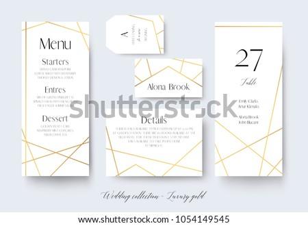 Wedding menu, label, details, place, table number cards delicate design with golden foil graphic stripes & geometrical frame. Vintage art geometrical decor. Elegant, trendy, luxury vector collection