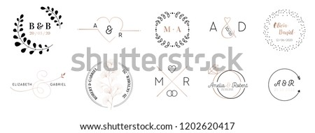 Wedding monogram logos collection, hand drawn modern minimalistic and floral templates for Invitation cards, Save the Date, elegant identity for restaurant, boutique, cafe in vector Stock fotó ©