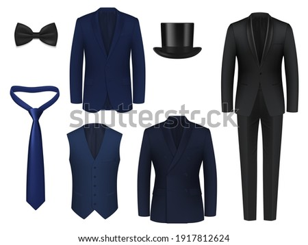 Wedding or dinner mens suit realistic mockup. Blue, black classic tuxedo jackets with single, double breasted tux, shawl collar, peak and shawl lapel, waistcoat, bow tie and necktie, top hat 3d vector ストックフォト ©