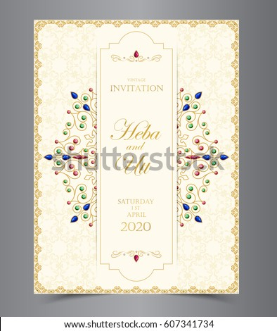 Wedding or invitation card  vintage style  with  crystals  abstarct pattern background  ,vector element eps10 illustration,indian,islam