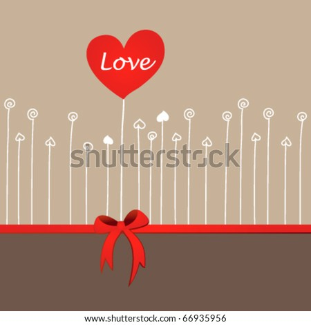 Wedding or Valentine heart design card - stock vector