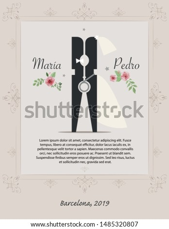 Wedding ornament concept with flower. Floral poster, invite. Vector decorative greeting card or invitation design background.