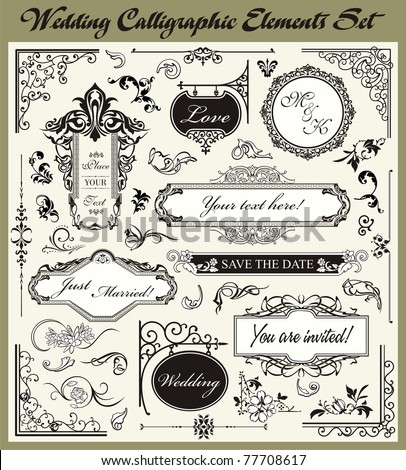 Wedding Ornamental and Calligraphic Designs Set