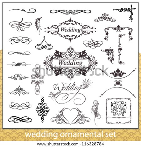 stock-vector-wedding-ornamental-set-with-hearts-corner-and-border-elements-isolated-on-white-background