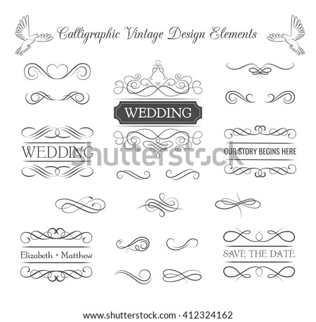 Wedding ornaments decorative elements, vintage ribbon frame, badge. Vector love element. Wedding invitation. Ornate frame elements. Vintage filigree decoration. Ornaments decorative vintage frame.