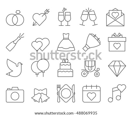 wedding outline web icon set