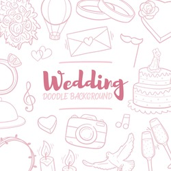 Wedding Party Doodle Banner Icon. Love Romantic Vector Illustration Hand Drawn Art. Line Symbols Sketch Background.