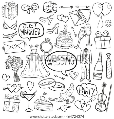 wedding party doodle icons hand