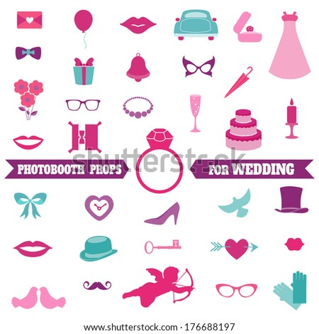 Wedding Party Set - Photobooth Props - glasses, hats, mustaches, elements - in vector