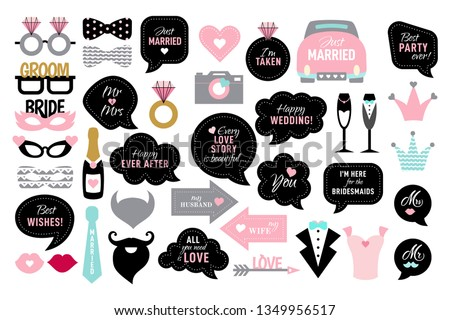 Wedding photo booth props. Bride and groom party .  Vector photobooth set - lips, glasses, bow, arrow, ring, cake, heart. Speech bubble with quotes for marriage. Happy ever after, mr, mrs, love you. Сток-фото ©