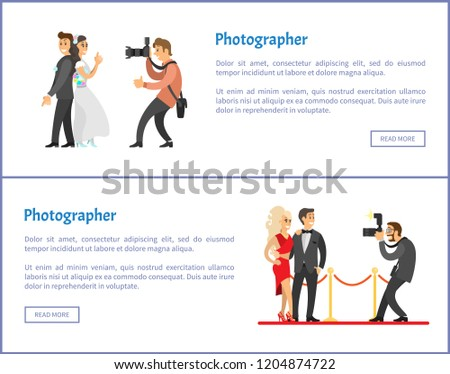 Wedding photographer and paparazzi web banners set. Bride next to groom, celebrities couple, flashlight with zoom for camera vector illustrations.