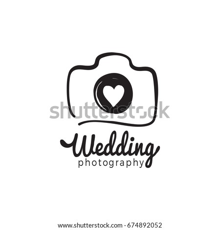 Wedding photography and photo studio hand drawn logo black color sketch. Vector design element, business sign, logo, identity, label, badge and branding object for business. Vector illustration