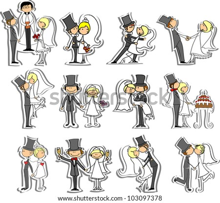 Wedding pictures, bride and groom in love, the vector