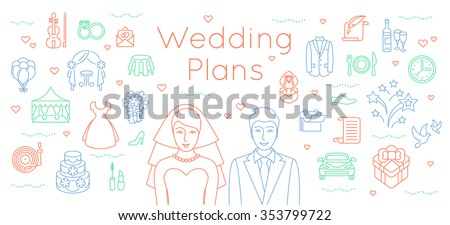 Free wedding plan icon vector download free vector art stock wedding plans thin line flat vector background modern horizontal linear illustration of bride and groom junglespirit Choice Image