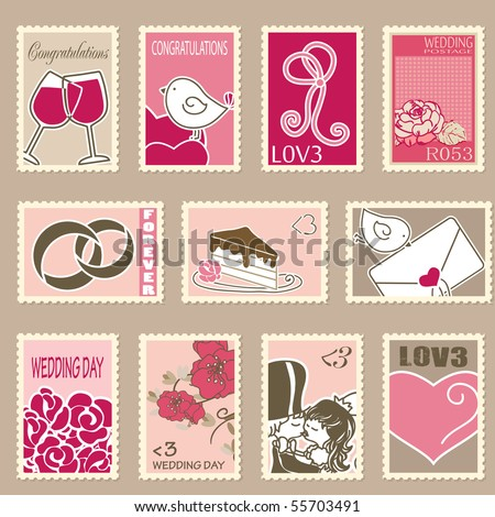 wedding postage stamps set