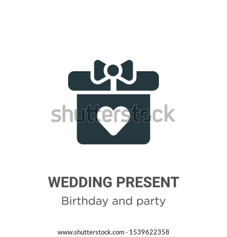 Wedding present vector icon on white background. Flat vector wedding present icon symbol sign from modern birthday and party collection for mobile concept and web apps design.
