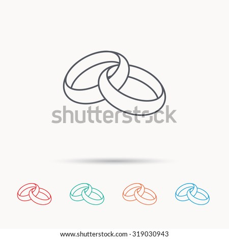Wedding rings icon. Bride and groom jewelery sign. Linear icons on white background. Vector Stock photo ©
