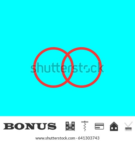 Wedding rings icon flat. Red pictogram on blue background. Vector illustration symbol and bonus buttons Music center, corkscrew, credit card, house, drum