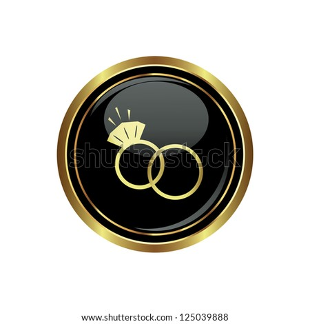 Wedding rings icon on the black with gold round button. Vector illustration