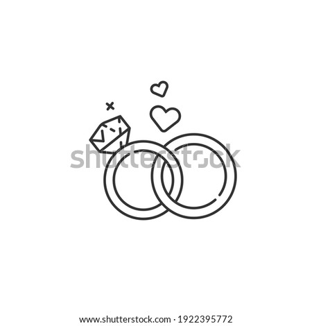 Wedding rings line vector icon. Love, marriage tradition sign. Foto stock ©