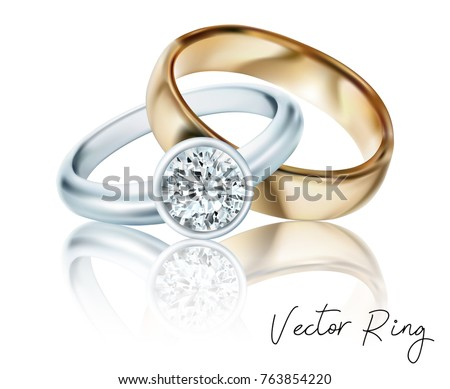 Wedding rings of gold, silver, palladium metal with diamonds, zircons and gems on transparent background isolated vector illustration for ads, flyers, wed site sale elements design