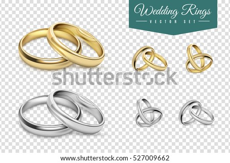 Shutterstock Wedding rings set of gold and silver metal on transparent background isolated vector illustration