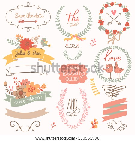 Wedding romantic collection with labels, ribbons, hearts, flowers, arrows, wreaths, laurel and birds. Graphic set in retro style.  Save the Date invitation in vector.