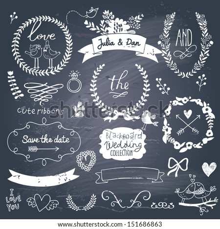 Wedding romantic collection with labels, ribbons, hearts, flowers, arrows, wreaths, laurel and birds. Graphic vintage set on chalkboard background.  Save the Date invitation in vector. #151686863