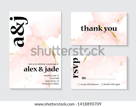 Wedding rose gold  invitations concept and Card Template Design with Painted canvas pink and gold foil in luxurious tender soft style Vector Illustration.