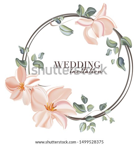 Wedding rose with leaves ornament concept. Floral poster, invite. Vector botanical decorative greeting card, invitation design background.