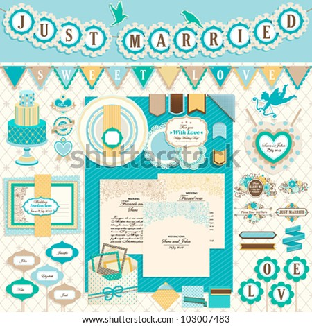 Wedding`s Day scrapbook elements Vector illustration