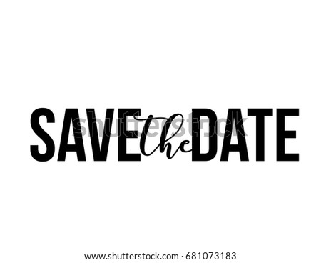 Wedding save the date word art design vector