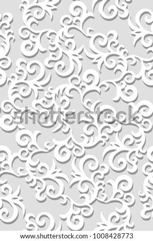 Wedding seamless pattern. Paper cut effect. Elegance background for invitation cards. Vector illustration.