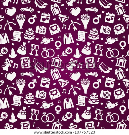 wedding seamless pattern - pink vector background