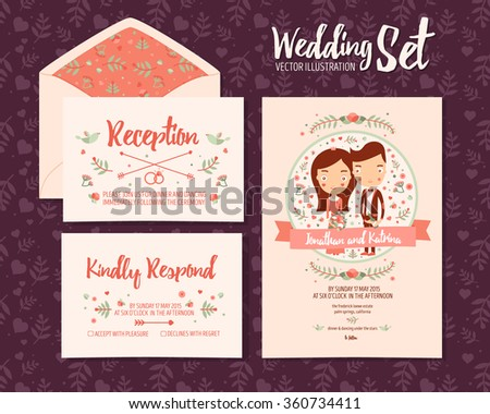 Invitation of rsvp with couple download free vector art stock wedding set invitation from 3 vector illustration cards template reception kindly respond and wedding stopboris Images