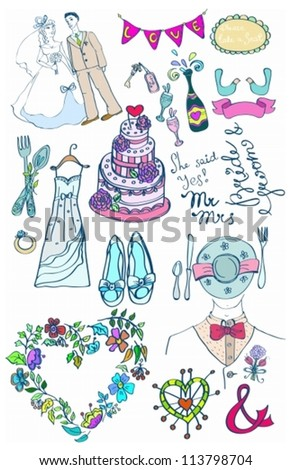 Wedding set of cute glamorous doodles for your design, vector