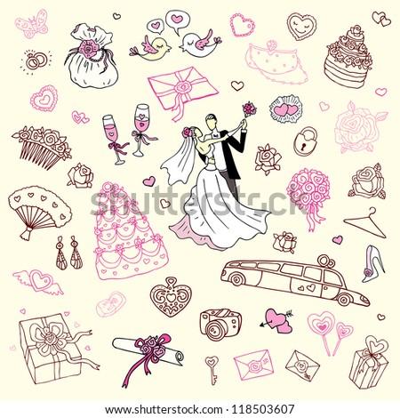 Wedding set of cute hand drawn illustration.