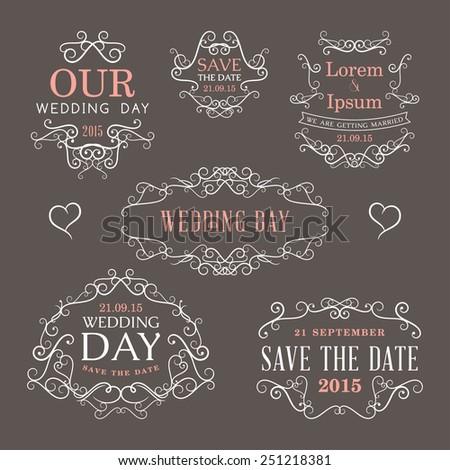 Wedding set of label, badges, stamp and design elements #251218381
